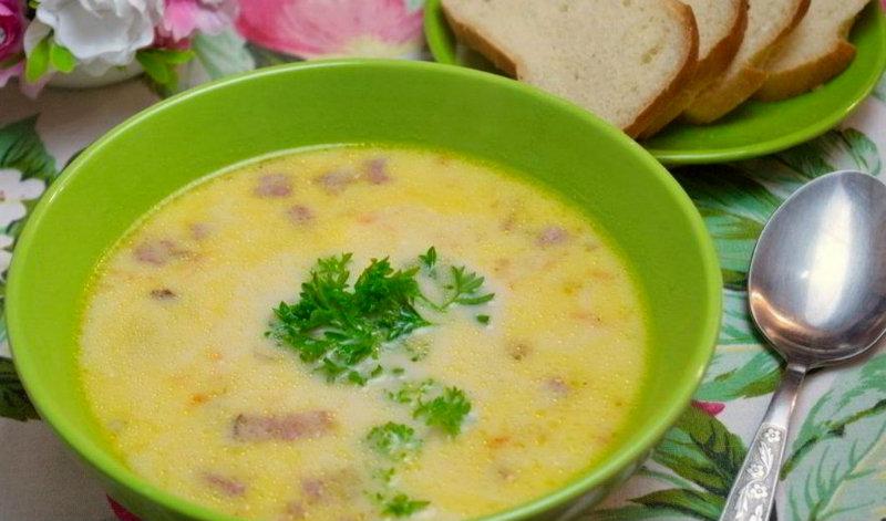 Сырный суп с ккопченостями